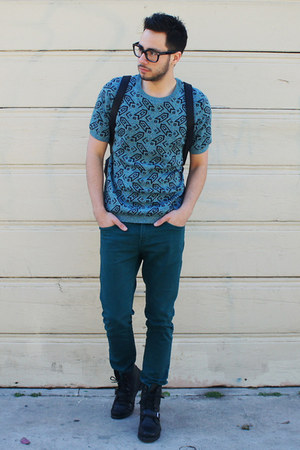 black Ralph Lauren boots - turquoise blue Topman shirt - black backpack H&M bag
