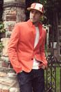 Navy-h-m-jeans-new-era-hat-red-zara-blazer-white-hanes-shirt
