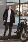 Black-topman-coat-heather-gray-beanie-old-navy-hat-white-v-neck-hanes-shirt