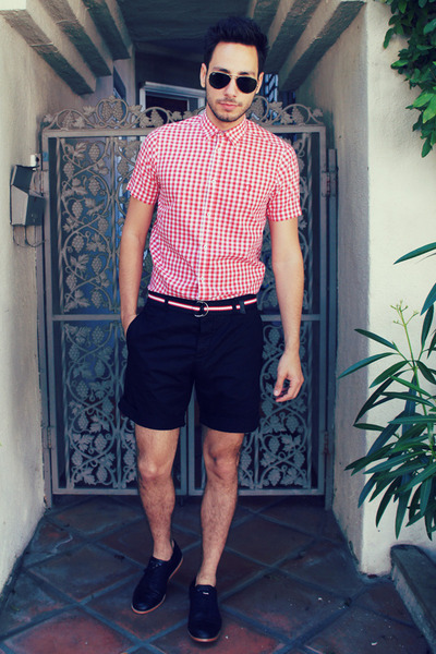 red ben sherman shirt - black Royal Elastics shoes - black H&M shorts