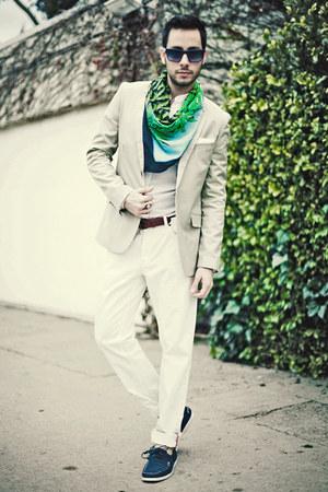 versace x h&m scarf - navy H&M shoes - beige H&M blazer