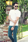 White-polo-lacoste-shirt-teal-zara-jeans-black-ray-ban-sunglasses
