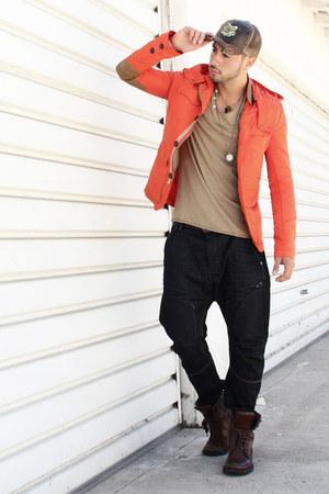 navy harem Zara jeans - dark brown Kenneth Cole boots