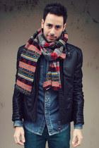 Zara scarf - charcoal gray Aldo boots - teal Zara jeans