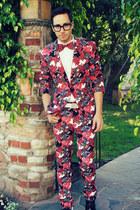 ruby red bow tie Mr Turk tie - white Mr Turk shirt - ruby red Mr Turk suit