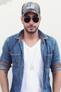 Gray-rustix-hat-sky-blue-denim-topman-shirt-black-aviator-ray-ban-sunglasses