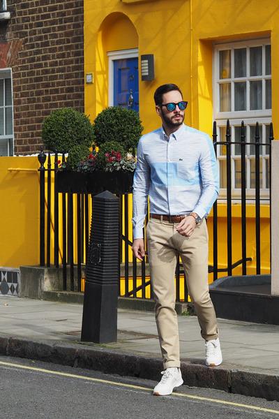 blue TOMS sunglasses - sky blue Lacoste shirt - tan JCrew pants