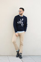 navy Daniel Wellington watch - navy Lacoste sweater - light blue H&M shirt