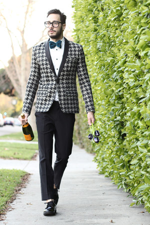 black Zara shoes - silver houndstooth Mr Turk blazer - white Zara shirt