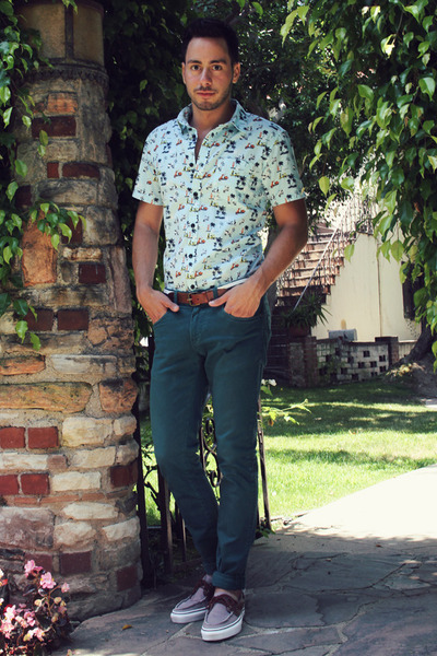 aquamarine Forever21 shirt - dark brown boat shoes Vans shoes - teal Zara jeans