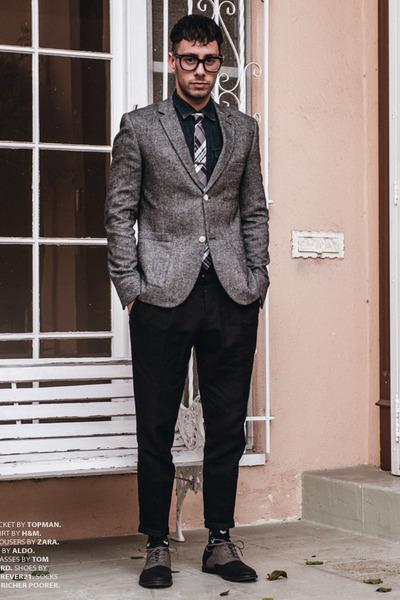 gray Forever21 shoes - heather gray tweed Topman blazer - navy denim H&M shirt