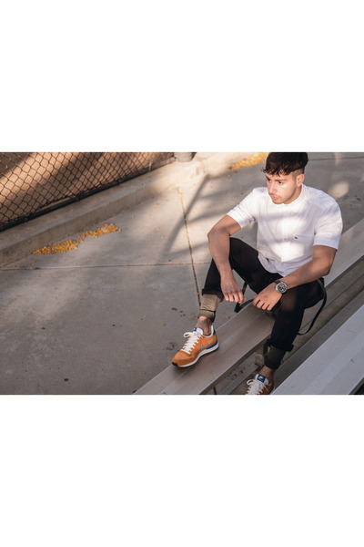 black Topman pants - white Lacoste shirt - carrot orange nike sneakers