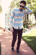 aztec print Naked & Famous Denim shirt - navy boat shoes H&M shoes