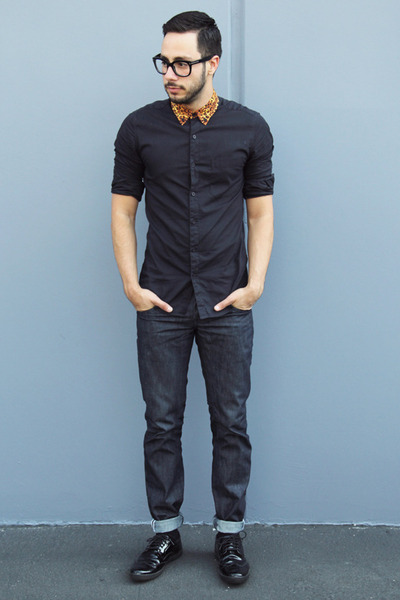 black patent Zara shoes - navy Levis jeans - black leopard collar Topman shirt