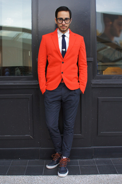 red Zara blazer - navy boat shoes Vans shoes - white penguin shirt