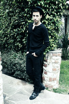 black Ralph Lauren boots - black Levis jeans - black fedora H&M hat