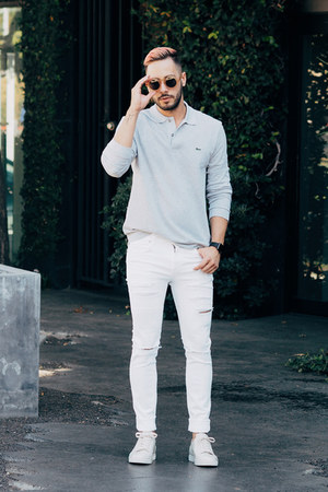 white Dr Denim jeans - silver Lacoste shirt - tan Wyeth Eyewear sunglasses