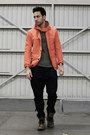 Navy-harem-zara-jeans-charcoal-gray-aldo-boots-orange-zara-jacket