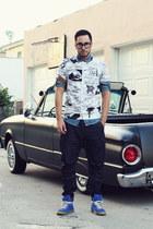 denim Topman shirt - TEZUKA x LACOSTE LVE shirt - harem Zara jeans