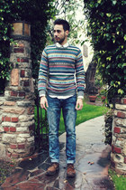 holiday H&M sweater - dark brown brogues Zara shoes - sky blue Hot Topic jeans