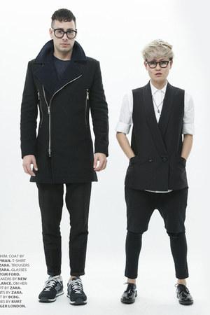black Topman coat - navy Zara shirt - black Zara pants