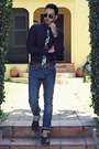 Brown-brogue-forever21-boots-sky-blue-h-m-jeans-navy-pin-dot-forever21-shirt