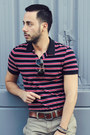 Navy-striped-polo-h-m-shirt-black-aviator-ray-ban-sunglasses