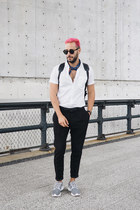 black Buscemi bag - white H&M shirt - black ray-ban sunglasses