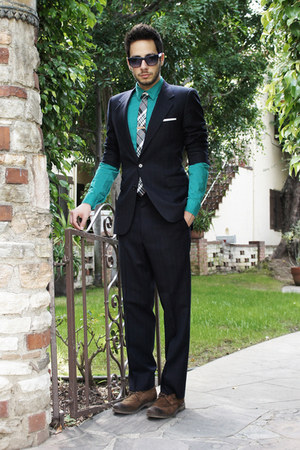 navy Givenchy suit - dark brown Zara shoes - turquoise blue H&amp;M shirt