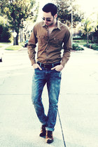 light brown JCrew shirt - dark brown Zara shoes - navy Hot Topic jeans