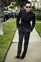 black Zara suit - black AntoineStanley shoes - navy H&M shirt