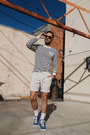 Navy-g-star-sweater-ivory-hudson-shorts-black-ray-ban-sunglasses