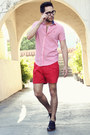Black-royal-elastics-shoes-red-gingham-ben-sherman-shirt-red-h-m-shorts
