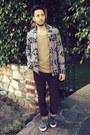 Tan-topman-shirt-crimson-corduroy-levis-pants-navy-obey-cardigan