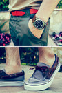 Dark-brown-english-laundry-watch-boat-shoes-vans-shoes-beige-topman-shirt