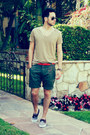 Boat-shoes-vans-shoes-beige-topman-shirt-army-green-welcome-stranger-shorts