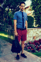 pin dot ben sherman shirt - Royal Elastics shoes - backpack H&M bag