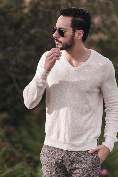 ivory Club Monaco sweater - black ray-ban sunglasses - silver Topman pants