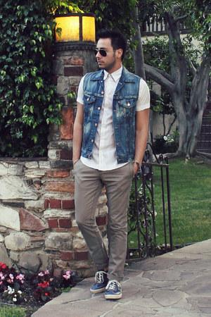 Micha Design bracelet - white pin-stripe H&M shirt