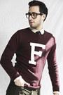 Crimson-varsity-forever21-sweater-beige-club-monaco-shirt-navy-forever21-tie