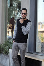 Black-forever21-sweater-black-lacoste-sunglasses-silver-topman-pants