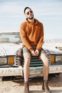 Brown-teva-boots-olive-green-welcome-stranger-shorts