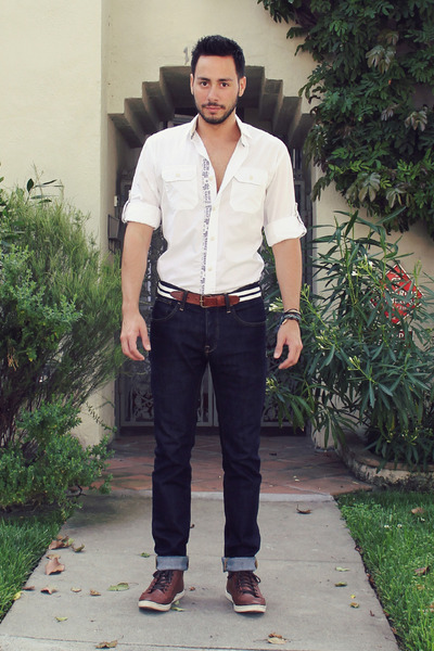 dark brown H&M shoes - navy H&M jeans - white Zara shirt - white H&M belt