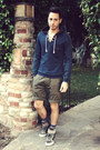 Navy-pullover-hoodie-zara-sweater-olive-green-welcome-stranger-shorts