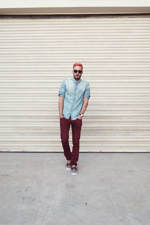 crimson Vans shoes - crimson Jacob Holston jeans - light blue H&M shirt