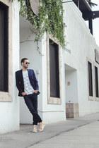 navy Hudson jeans - navy maison martin margiela blazer - white Levis shirt