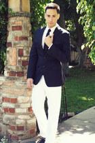 navy banana republic blazer - white H&M shirt - navy Twenty-one Men tie