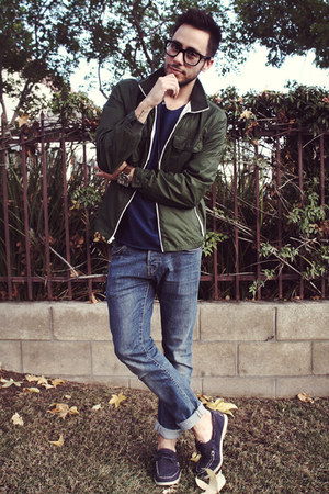 navy boat shoes H&M shoes - sky blue H&M jeans - army green Gap jacket