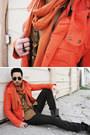 Carrot-orange-slicker-zara-jacket-heather-gray-aldo-boots