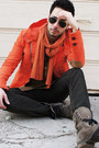 Heather-gray-aldo-boots-carrot-orange-slicker-zara-jacket